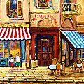 CAFE DE VIEUX MONTREAL WITH COUPLE Poster by CAROLE SPANDAU