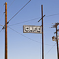 Cafe Sign Power And Telephone Cables Print by Bryan Mullennix