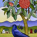 Camellia and Crow Print by Stacey Neumiller