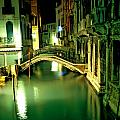 Canal And Bridge In Venice At Night Poster by Michael Henderson