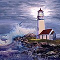 Cape Blanco Oregon Lighthouse on Rocky Shores Print by Gina Femrite