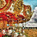 Carnival - The Merry-go-round Print by Mike Savad