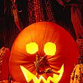 Carved pumpkin with fall leaves Poster by Garry Gay