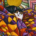 Cat in Quilts Poster by Carol Wilson