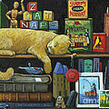Cat Naps - old books oil painting Print by Linda Apple