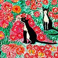 Cats and Roses Poster by Sushila Burgess