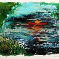 Cattails and Canoe Print by John  Williams