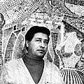 Cesar Chavez Stands In Front Of The Poster by Everett