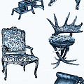 Chair poster in blue Poster by Lee-Ann Adendorff