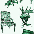 Chair poster in green  Poster by Lee-Ann Adendorff