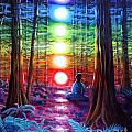 Chakra Meditation in the Redwoods Poster by Laura Iverson