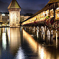 Chapel Bridge at Night in Lucerne Poster by George Oze