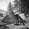Charcoal Production, 19th Century Print by