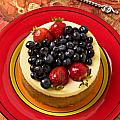 Cheesecake on red plate Print by Garry Gay