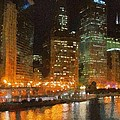 Chicago at Night Print by Jeff Kolker