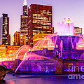 Chicago at Night with Buckingham Fountain Print by Paul Velgos