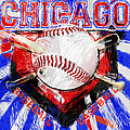 Chicago Baseball Abstract Print by David G Paul