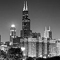 Chicago Night Skyline in Black and White Poster by Paul Velgos