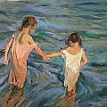 Children in the Sea Poster by Joaquin Sorolla y Bastida