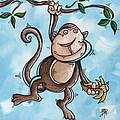 Childrens Whimsical Nursery Art Original Monkey Painting MONKEY BUTTONS by MADART Poster by Megan Duncanson