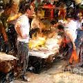 Chinatown Rain Print by Marilyn Sholin