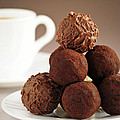 Chocolate truffles and coffee Print by Elena Elisseeva