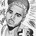Chris Brown CB Drawing Print by Kenal Louis