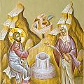 Christ and the Samaritan Woman Poster by Julia Bridget Hayes