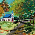 Church on the Bend landscape Poster by John  Williams