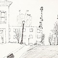 city street - sketch Print by Robert Meszaros