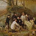 Claiming the Shot - After the Hunt in the Adirondacks Print by John George Brown
