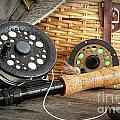Close-up fly fishing rod  Poster by Sandra Cunningham