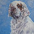 Clumber Spaniel in Snow Poster by Lee Ann Shepard