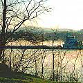 Coal Barge in Ohio River Mist Print by Padre Art