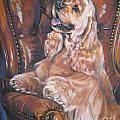 Cocker Spaniel on chair Poster by L A Shepard
