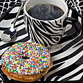 Coffee and donut on striped plate Poster by Garry Gay