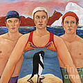Cold Water Swimmers Poster by Paula Wittner