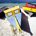 Colorful Boats on  Eagle Beach  Aruba Poster by George Oze