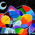 Colorful Cat in the Moonlight Print by Nick Gustafson