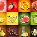 Colorful Fruit Food Square Background Print by Angela Waye