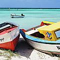 Colorful Traditional Fishing Boats Print by George Oze