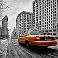 Colour Popped NYC Cab in front of the Flat Iron Building  Print by John Farnan