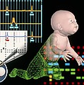 Computer Artwork Depicting Baby's Paternity Test Print by Laguna Design