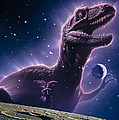 Conceptual Art Of A Ghostly Dinosaur Over The Moon Print by Joe Tucciarone