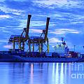 Container Cargo freight ship with working crane bridge in shipya Print by Anek Suwannaphoom