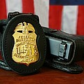 Contemporary Fbi Badge And Gun Print by Everett