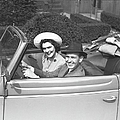 Couple Riding In Old Fashion Convertible Car, (b&w),, Portrait Print by George Marks
