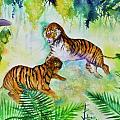 Courting Tigers. Print by Larry  Johnson
