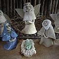 Creche Mary Joseph and Baby Jesus Print by Nancy Griswold