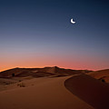 Crescent Moon Over Dunes Print by Photo by John Quintero